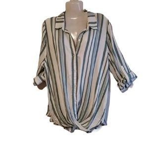Harper Heritage Button Down Faux Wrap Shirt Sz Lg